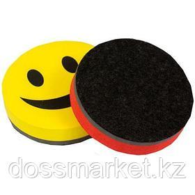 """Губка для магнитно-маркерной доски OfficeSpace """"Смайл"""", диаметр - 9 см, магнитная, ассорти"""