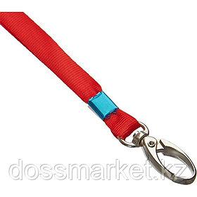 Шнурок для бейджа Promega office, длина 88 см, на карабине, красный