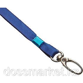 Шнурок для бейджа Promega office, длина 88 см, на карабине, голубой