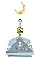 Навершие. Купол на мазар. Серебро с орнаментом и золотым объемным полумесяцем d-230 с 2-мя шарами