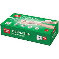 Перчатки виниловые OfficeClean, размер M, неопудренные, прочные, белые, 100 шт/упак