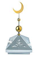 Навершие. Купол на мазар. Серебро с орнаментом и золотым плоским полумесяцем d-230 с 2-мя шарами