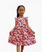 Цветочно-красное платье для девочек