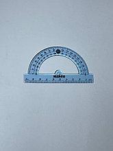 Транспортир голубой прозрачный 10см