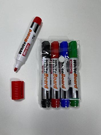 Набор маркеров для белых досок, 4 маркера (черный, красный, зеленый, синий)., фото 2