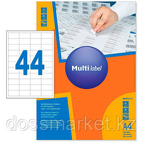 Лейбл  на 44 этикетк., А4, 48,5*25,4 мм, 100лист., Multilabel