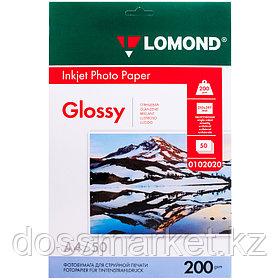 Фотобумага А4, 200 гр, глянцевая, одностороннее, 50 листов, для струйной печати, Lomond