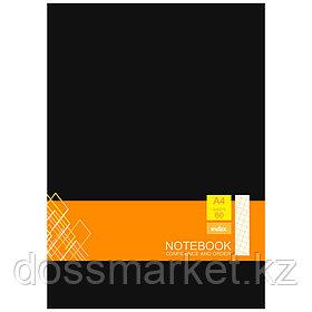 Блокнот, А4, 60л.,клетка, на гребне, жёсткая задняя обложка. чёрный, INDEX