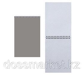 Блокнот, А5, 60л.,клетка, на гребне, серый
