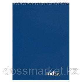 Блокнот, А4, 60л.,клетка, на гребне, ламинир. обложка, office classic, синий. INDEX