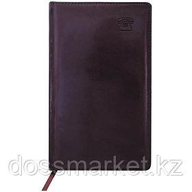 Телефонно-адресная книга 130*210, 192 лист, коричневая, NEBRASKA, кожзам, INDEX