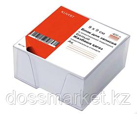 Блок бумаги для записи 9*9*5, белый, 80гр., непроклеенный, в пластбоксе, прозрачный, KUVERT