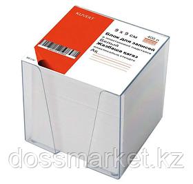 Блок бумаги для записи 9*9*9, белый, 80гр., непроклеенный, в пластбоксе, прозрачный, KUVERT