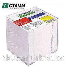 Блок бумаги для записи 9*9*9, белый, в пластбоксе прозрачный, СТАММ, замена 8-999пл