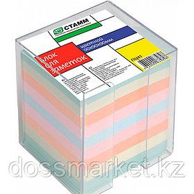 Блок бумаги для записи 9*9*9, цветной, в пластбоксе, прозрачный, СТАММ