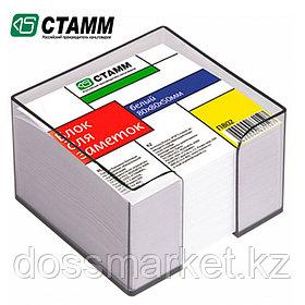 Блок бумаги для записи 8*8*5, белый, в пластбоксе серый, СТАММ