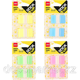 Постики-флажки 44*25мм, пластиковые, 2 шт по 50 листов, пластик. диспенсер, ассорти, блистер, DELI