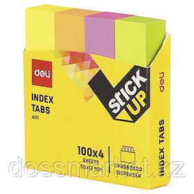 Постики-флажки 76*19мм, бумажные, 4 цв. по 100 листов, неоновые цвета, ассорти полоски, DELI