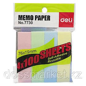Постики-флажки 76*19мм, 100 листов, ассорти, DELI