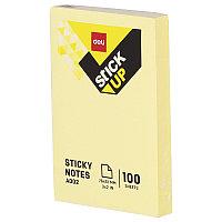 Постики 76х51 мм, 100лист, жёлтый, плёнка. DELI