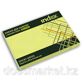 Постики  75х105 мм, 100лист, жёлтый. INDEX