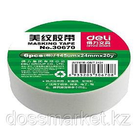 Скотч бумажный. малярный, 24мм х 18м, DELI