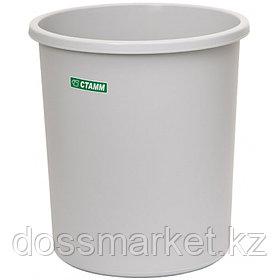 Корзина для мусора, 18л, цельная, серая, СТАММ