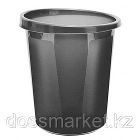 Корзина для мусора, 9л, цельная, серая, СТАММ