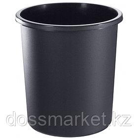 Корзина для мусора, 18л, цельная, чёрная, СТАММ