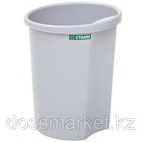 Корзина для мусора, 12л, цельная, серая, СТАММ