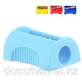 Точилка пластмассовая, с 1 лезвием, цвет ассорти, DELI