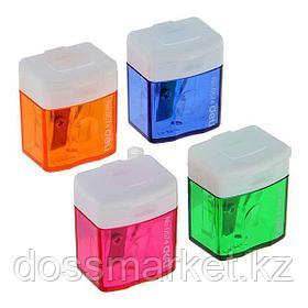 Точилка пластмассовая, с 1 лезвием, контейнер, DELI