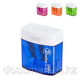 Точилка пластмассовая, с 2 лезвием, контейнер, DELI
