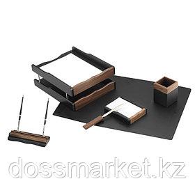 Набор деревянный настольный, 6 предметов, темно-коричневый орех, с подложкой, Delucci