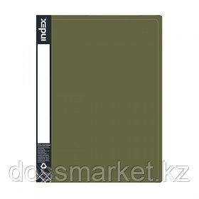 Папка на 2 кольцах, А4, зелёный металлик, 0,75мм, 2см шир., INDEX