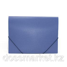 Папка на резинках, пластик., А4 , синяя, 0,5мм, SATIN, INDEX