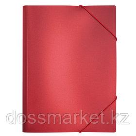 Папка на резинках, пластик., А4 , красный металлик, 0,5мм, INDEX