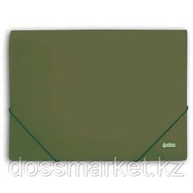 Папка на резинках, пластик., А4 , зелёный металлик, 0,5мм, INDEX