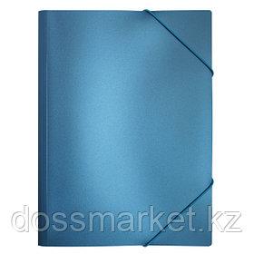 Папка на резинках c 3-мя клапанами,  пластик., плонтность 0,5мм А4 , синий металлик, 0,5мм, INDEX