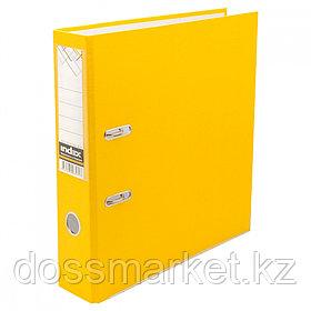 Регистратор, 5см, жёлтый, А4, ПВХ - одностор., 1300 гр,метал. оконт., INDEX
