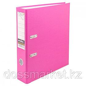 Регистратор, 5см, розовый, А4, ПВХ - одностор., 1300 гр,метал. оконт., INDEX