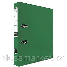 Регистратор, 5см, зелёный, А4, ПВХ - одностор., 1300 гр,метал. оконт., INDEX