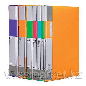 Папка с 60 файлами, ассорти, А4, пластик. 0.85мм, шир 34мм, DELI