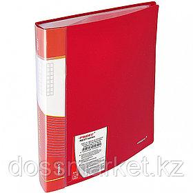 Папка с 60 файлами, красная, А4, пластик, 0.75мм