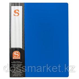 Папка с 10 файлами, синяя, А4, пластик.