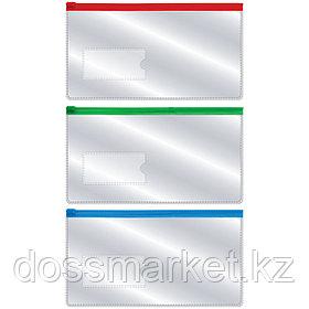 Папка на молнии, евро, 233*124мм, 0,18мм, с карманом для визитки(35*75мм), INDEX