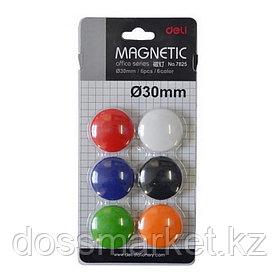 Магниты, диаметр 30мм, 6шт в наборе, 6 цветов, блистер, DELI
