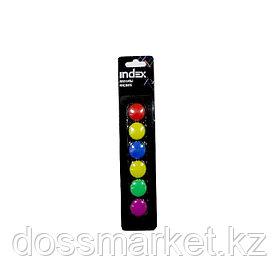 Магниты, диам 20мм, 6шт в наборе, 6 цветов,блистер, INDEX