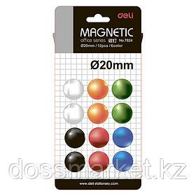 Магниты, диаметр 20мм, 12шт в наборе, 6 цветов, блистер, DELI