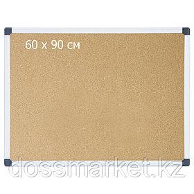 Доска пробковая, 60*90см, метал. рамка. DELI